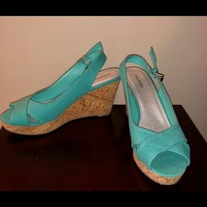 Maurices turquoise Danielle open toe wedge heels